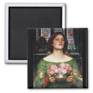 John Waterhouse - Gather Ye Rosebuds 2 Inch Square Magnet