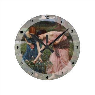 John Waterhouse- Gather Ye Rosebuds While Ye May Wall Clock
