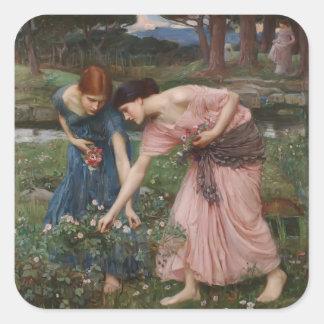 John Waterhouse- Gather Ye Rosebuds While Ye May Square Stickers