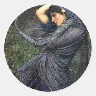 John Waterhouse Pre-Raphaelite Boreas Round Sticker