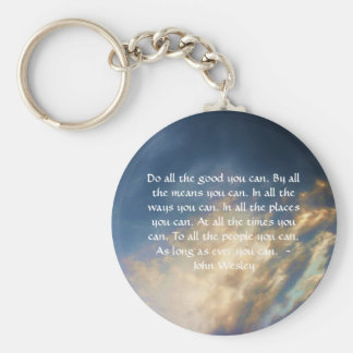 John Wesley Living Quote With Blue Sky Clouds Basic Round Button Keychain