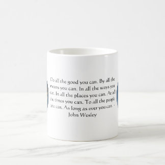 John Wesley Living Quote With Blue Sky Clouds Coffee Mug