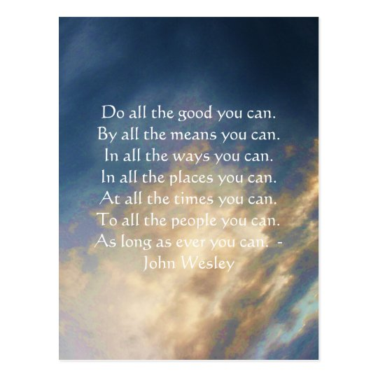 John Wesley Living Quote With Blue Sky Clouds Postcard