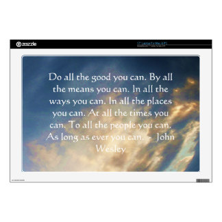 "John Wesley Living Quote With Blue Sky Clouds Skin For 17"" Laptop"