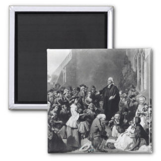 John Wesley preaching 2 Inch Square Magnet