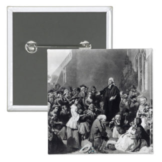 John Wesley preaching 2 Inch Square Button