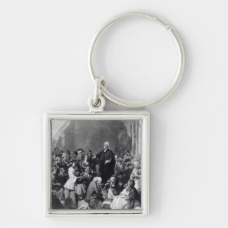 John Wesley preaching Silver-Colored Square Keychain