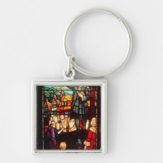 John Wesley  Preaching the Gospels in England Silver-Colored Square Keychain