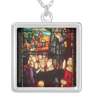 John Wesley  Preaching the Gospels in England Square Pendant Necklace