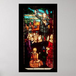 John Wesley que predica los evangelios en Inglater Póster