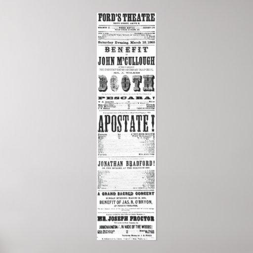John Wilkes Booth Playbill Impresiones