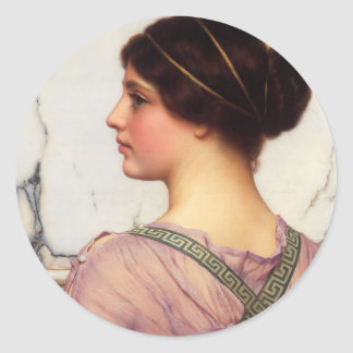 John William Godward- A Grecian Lovely Classic Round Sticker