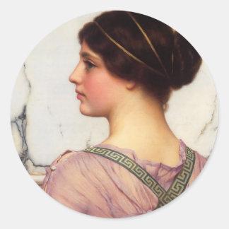 John William Godward- A Grecian Lovely Round Sticker