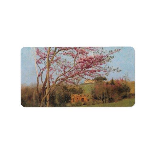 John William Godward - Blossoming Red Almond Address Label