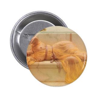 John William Godward- Girl in yellow Drapery Pinback Buttons