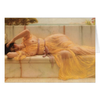 John William Godward- Girl in yellow Drapery Card