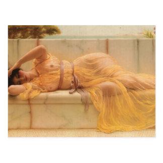 John William Godward- Girl in yellow Drapery Postcard