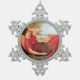 John William Godward- In Realms of Fancy Snowflake Pewter Christmas Ornament