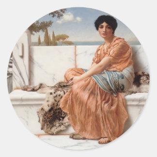 John William Godward- In the Days of Sappho Classic Round Sticker