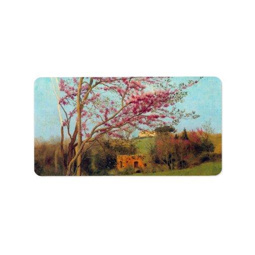 John William Godward - Landscape Blossoming Red Al Personalized Address Labels