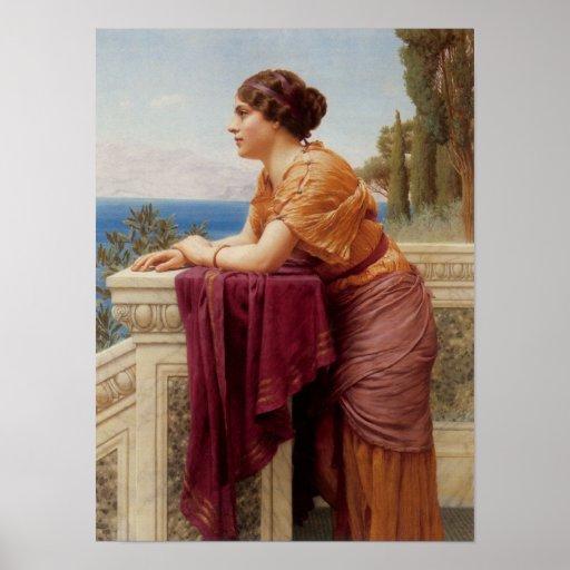 John William Godward - The belvedere Print