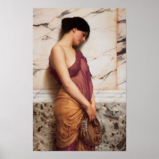 John William Godward - The tambourine girl Print