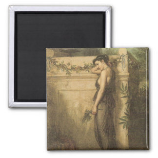 John William Waterhouse - Gone But Not Forgotten 2 Inch Square Magnet