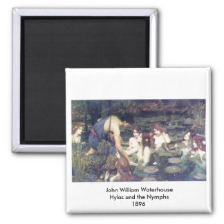 John William Waterhouse - Hylas and the Nymphs 2 Inch Square Magnet