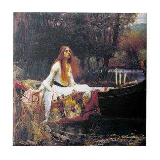 John William Waterhouse la señora Of Shalott Azulejo Cuadrado Pequeño