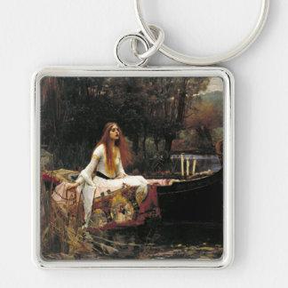 John William Waterhouse la señora Of Shalott Llavero Cuadrado Plateado