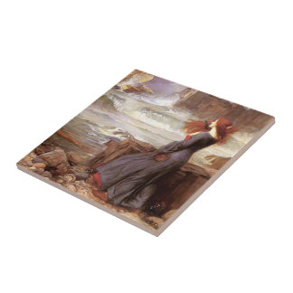 John William Waterhouse- Miranda Small Square Tile