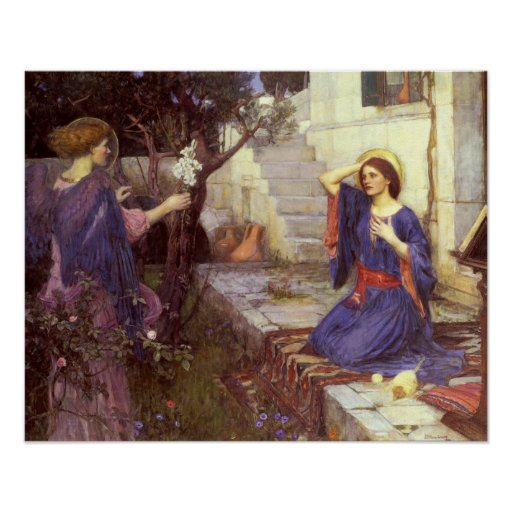 John William Waterhouse - The Annunciation Poster