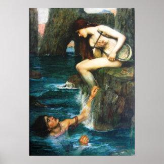 John William Waterhouse The Siren Poster