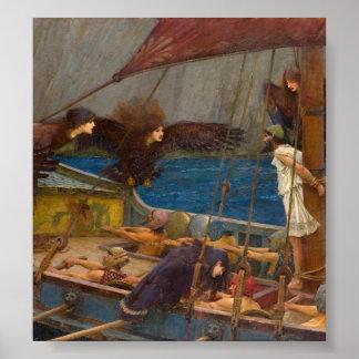 John William Waterhouse - Ulises y las sirenas Póster