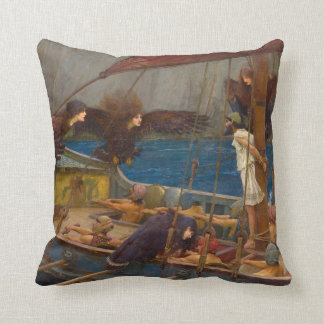John William Waterhouse - Ulysses and the Sirens Throw Pillows
