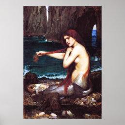 John William Waterhouse Vintage Mermaid Poster