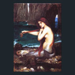 "John William Waterhouse Vintage Mermaid Print<br><div class=""desc"">John William Waterhouse Mermaid print. Oil on Canvas from 1900-1901. The English artist John Waterhouse drew extensively on literary and mythological themes. ""A Mermaid"" is one of his most beautiful and beloved paintings. The mermaid sits on the beach of a lagoon with a shell full of pearls combing her auburn...</div>"