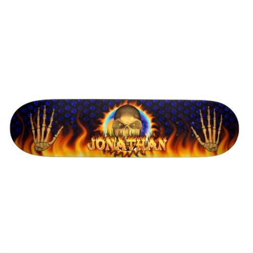 johnathanJonathan skull real fire and flames skate Skate Board