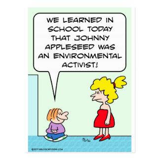 johnny appleseed environmental activist postcard