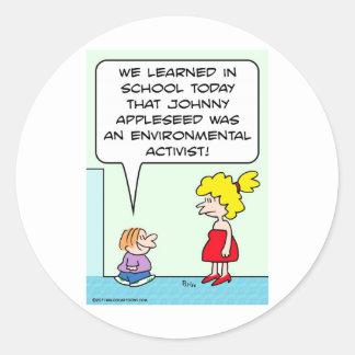 johnny appleseed environmental activist round sticker