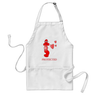 Johnny Condom Protected Hearts Adult Apron