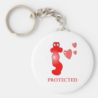 Johnny Condom Protected Hearts Keychain