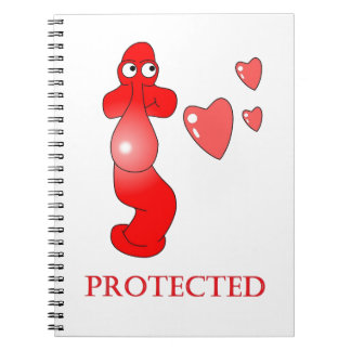 Johnny Condom Protected Hearts Spiral Notebook
