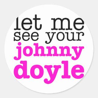 Johnny Doyle Pink Classic Round Sticker