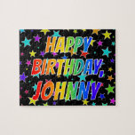 "[ Thumbnail: ""Johnny"" First Name, Fun ""Happy Birthday"" Jigsaw Puzzle ]"