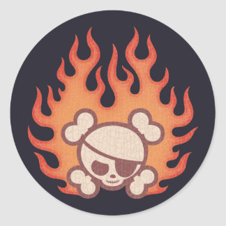 Johnny Flames Classic Round Sticker