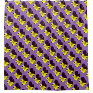 Johnny Jump Up Flowers Floral Shower Curtain