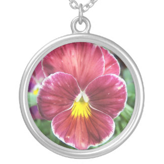 Johnny Jump Up Flowers Sterling Silver Necklace