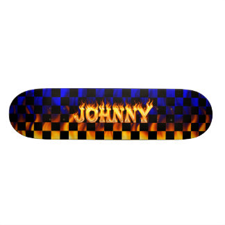 Johnny skateboard fire and flames design.