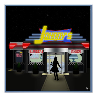 Johnny's Curb Service Retro Drive In Poster